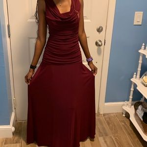 Long V Neck Burgundy Prom Dress